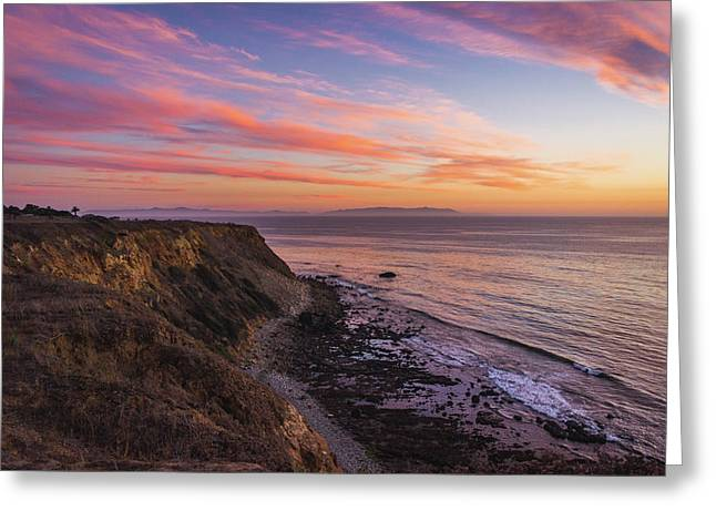 Colorful Sunset At Golden Cove Greeting Card