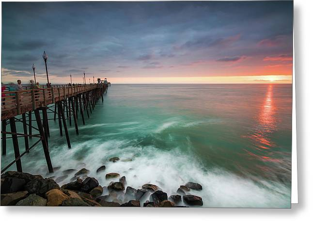 Colorful Sunset At The Oceanside Pier Greeting Card