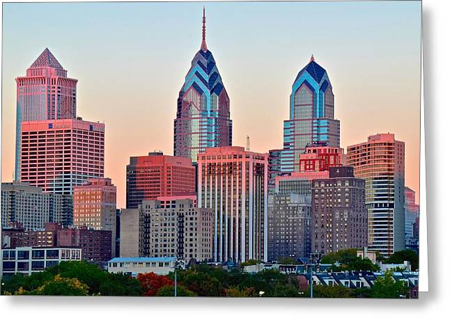 Colorful Sunset In Philadelphia Greeting Card