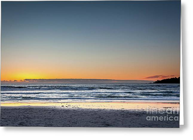 Colorful Sunset Over A Desserted Beach Greeting Card