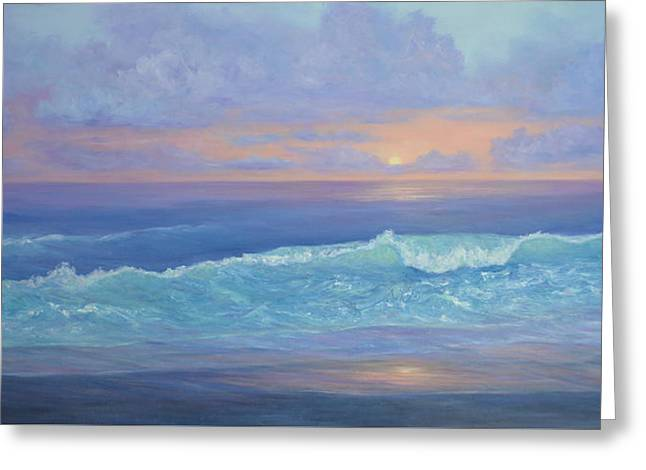 Cape Cod Colorful Sunset Seascape Beach Painting With Wave Greeting Card
