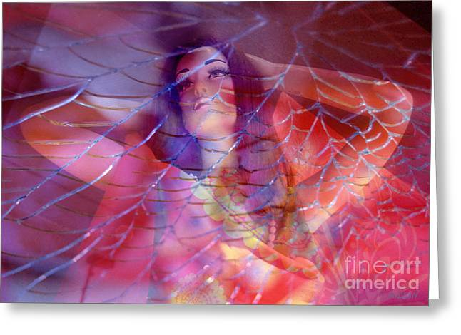 colorful surreal woman mannequin photography - Desdemona Greeting Card