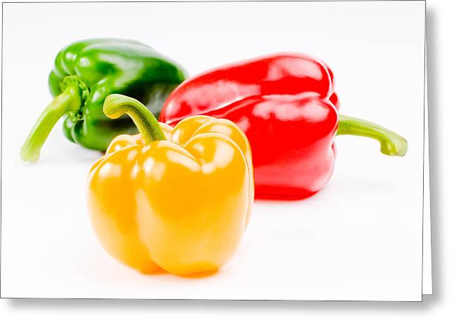 Pungent Greeting Cards - Colorful Sweet Peppers Greeting Card by Setsiri Silapasuwanchai