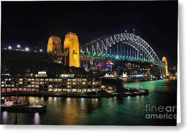 Colorful Sydney Harbour Bridge By Night 2 Greeting Card by Kaye Menner