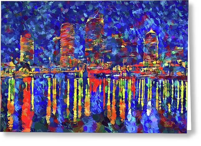 Colorful Tampa Bay Skyline Greeting Card by Dan Sproul