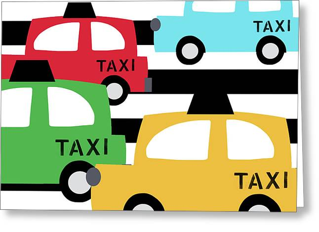 Colorful Taxis- Art By Linda Woods Greeting Card