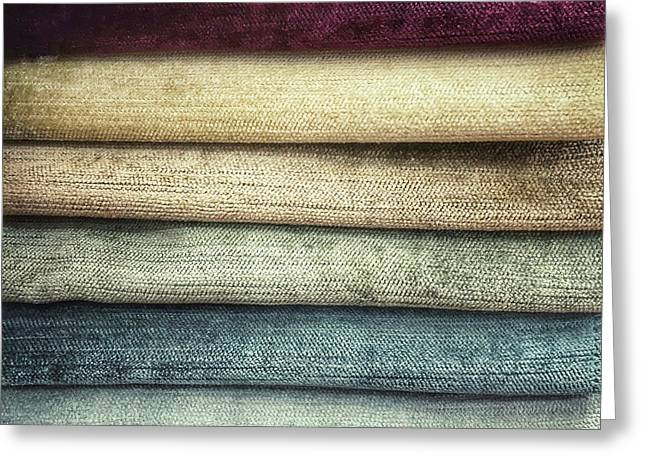 Colorful Textiles Background Greeting Card by Tom Gowanlock
