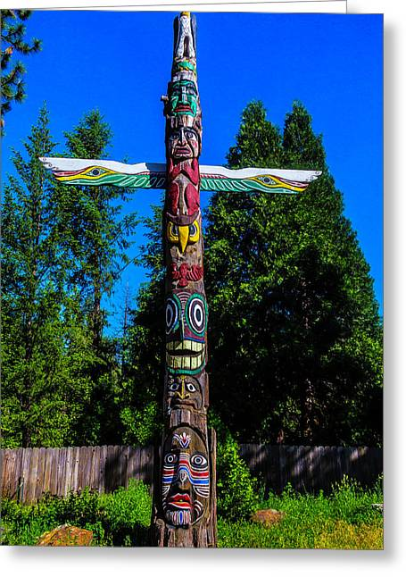 Colorful Totem Pole  Greeting Card by Garry Gay