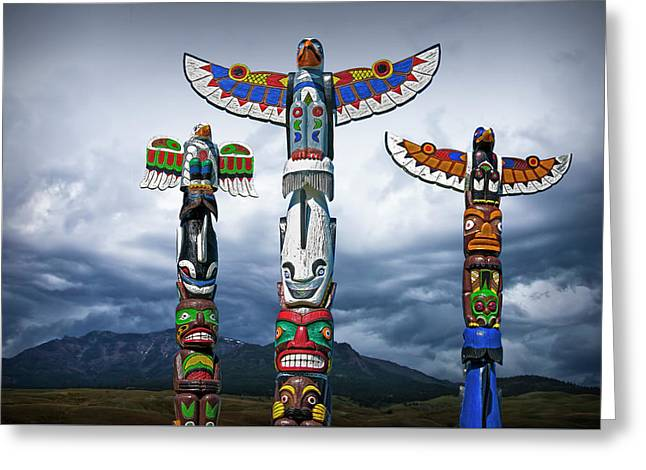 Colorful Totem Poles In The Northwest Greeting Card by Randall Nyhof