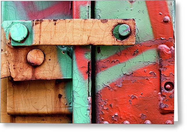 Colorful Train Details Greeting Card by Carol Leigh