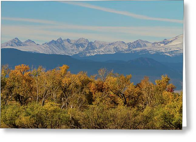 Colorful Trees And Majestic Mountain Peaks Greeting Card