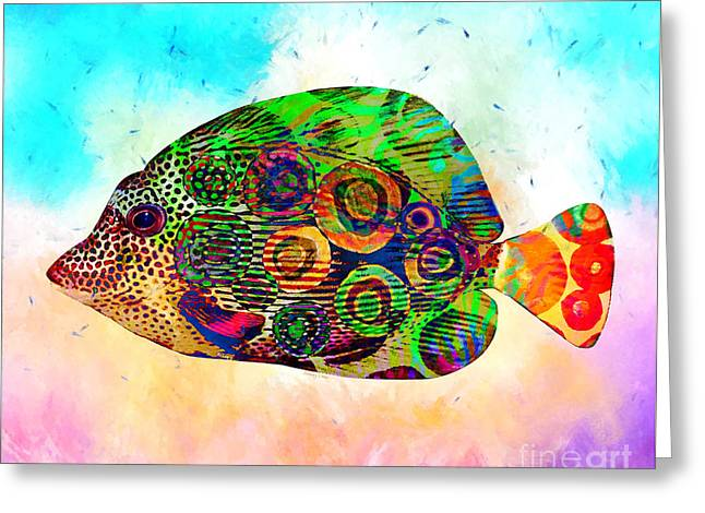 Colorful Tropical Fish Print Greeting Card by Stacey Chiew