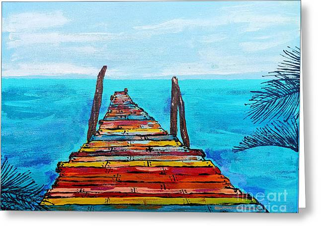 Colorful Tropical Pier Greeting Card