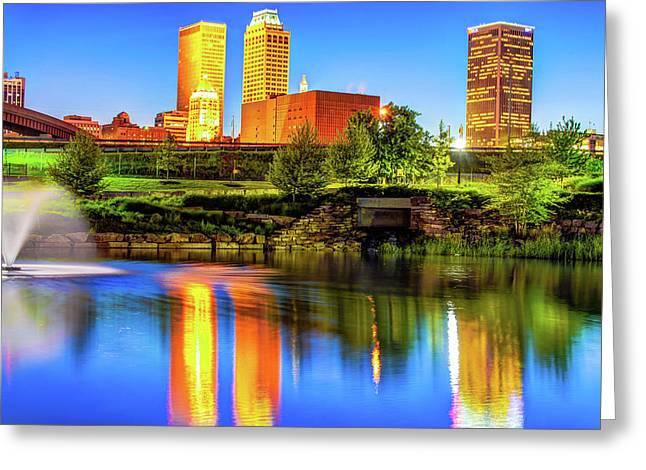 Colorful Tulsa Skyline - Oklahoma Fine Art Greeting Card