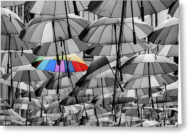 Colorful Umbrella Among Others Different From The Crowd Concept Greeting Card