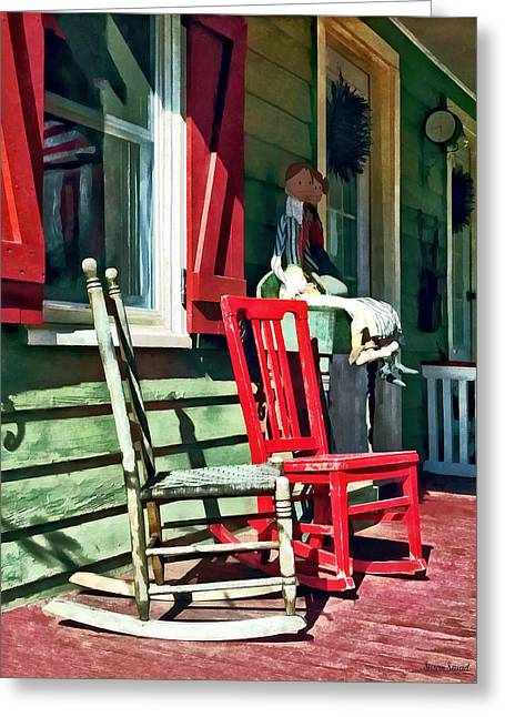 Two Rocking Chairs On Porch Greeting Card