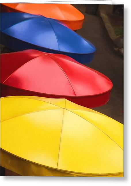Colorful Umbrellas Greeting Card by Jon Burch Photography