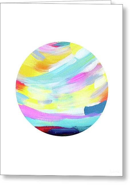 Colorful Uprise 4 Circle- Art By Linda Woods Greeting Card