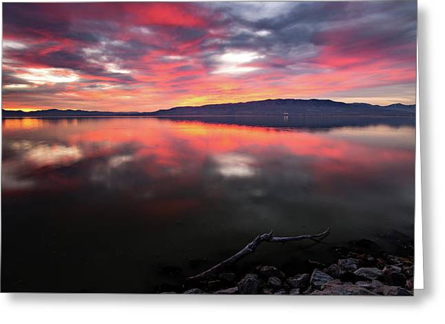 Colorful Utah Lake Sunset Greeting Card