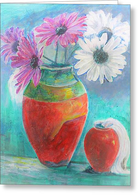 Colorful Vases And Flowers Greeting Card