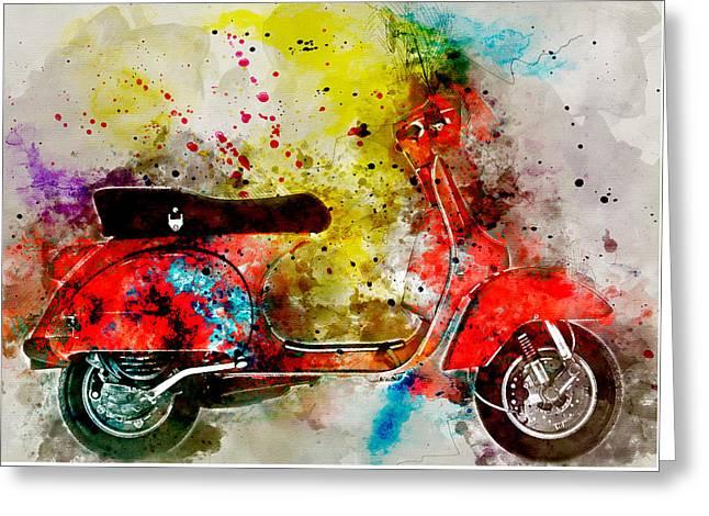 Colorful Vespa 1 - By Diana Van Greeting Card by Diana Van