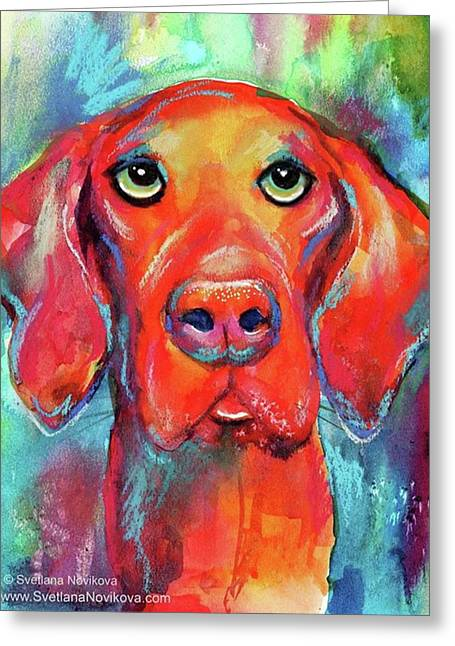 Colorful Vista Dog Watercolor And Mixed Greeting Card
