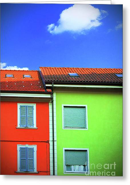 Colorful Walls And A Cloud Greeting Card by Silvia Ganora