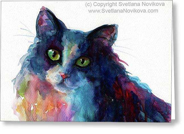 Colorful Watercolor Cat By Svetlana Greeting Card