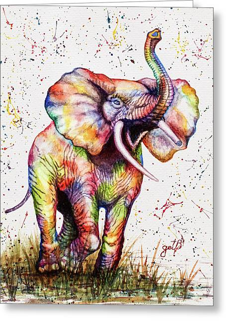 Greeting Card featuring the painting Colorful Watercolor Elephant by Georgeta Blanaru