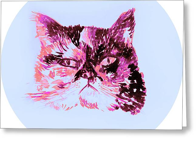 Colorful Watercolor Of Cat Greeting Card by Oana Unciuleanu