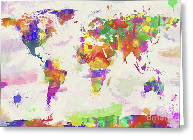 Colorful Watercolor World Map Greeting Card