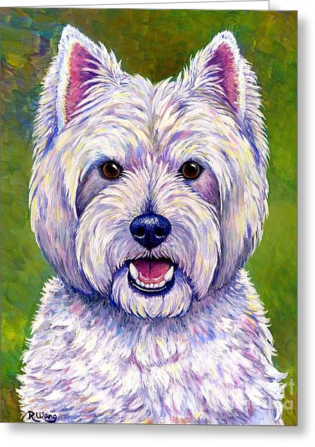 Colorful West Highland White Terrier Dog Greeting Card