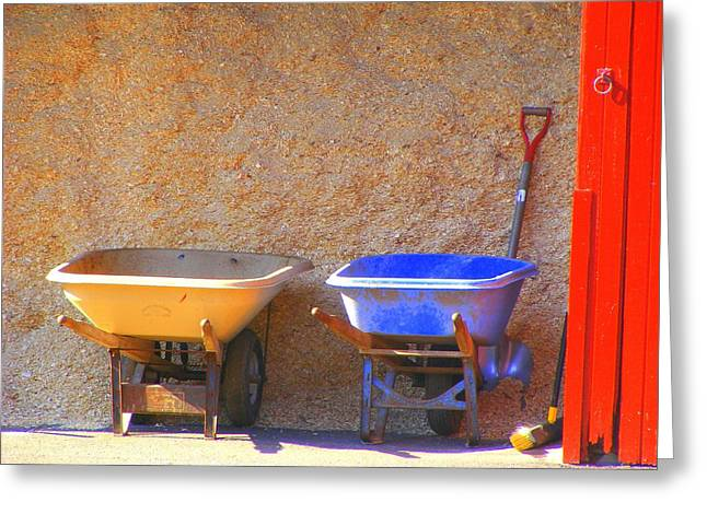 Greeting Card featuring the photograph Colorful Wheelbarrows by Margie Avellino