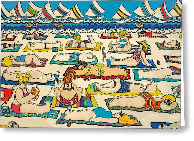 Colorful Whimsical Beach Seashore Women Men Greeting Card