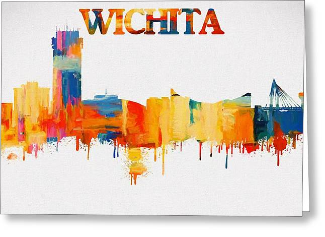 Colorful Wichita Skyline Silhouette Greeting Card by Dan Sproul