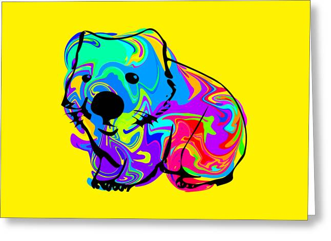 Colorful Wombat Greeting Card by Chris Butler