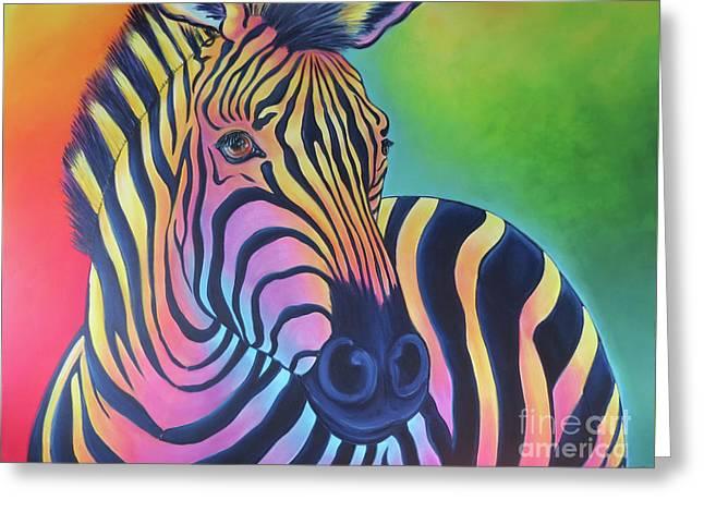Colorful Zebra Greeting Card