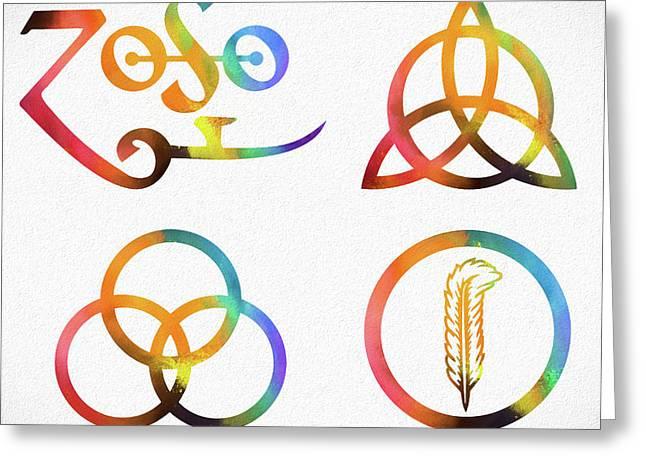 Colorful Zoso Symbols Greeting Card