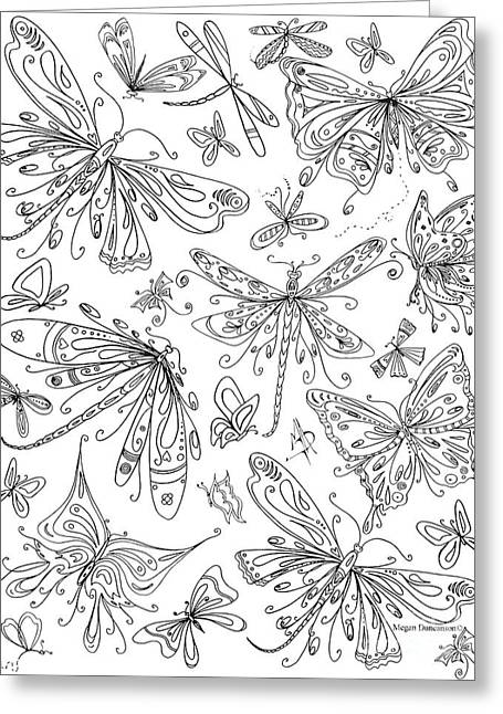 Coloring Page For Adults Butterflies And Dragonflies By Madart Greeting Card by Megan Duncanson