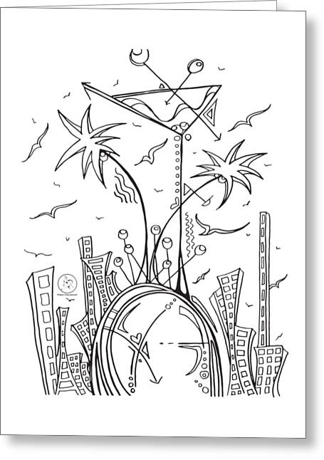 Coloring Page With Beautiful City Martini Drawing By Megan Duncanson Greeting Card by Megan Duncanson