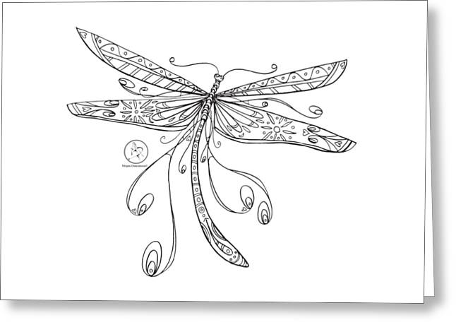 Coloring Page With Beautiful Dragonfly Drawing By Megan Duncanson Greeting Card