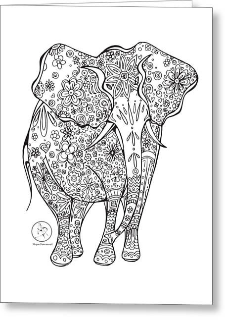 Coloring Page With Beautiful Elephant Drawing By Megan Duncanson Greeting Card