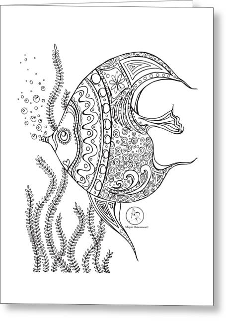Coloring Page With Beautiful Fish Drawing By Megan Duncanson Greeting Card by Megan Duncanson