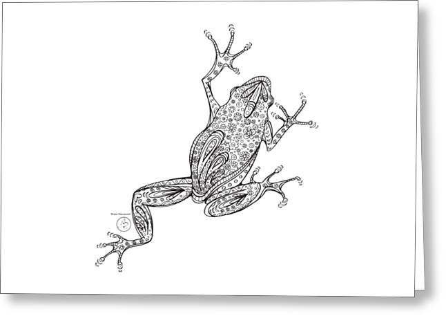 Coloring Page With Beautiful Frog Drawing By Megan Duncanson Greeting Card