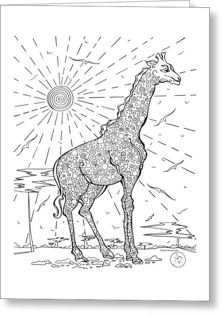 Coloring Page With Beautiful Giraffe Drawing By Megan Duncanson Greeting Card