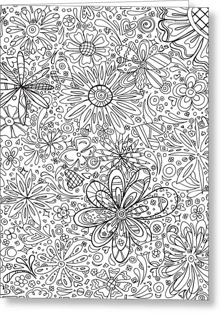 Coloring Page With Beautiful In The Garden 6 Drawing By Megan Duncanson Greeting Card by Megan Duncanson