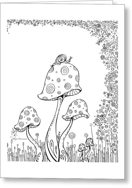 Coloring Page With Beautiful In The Garden 8 Drawing By Megan Duncanson Greeting Card