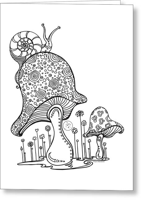 Coloring Page With Beautiful Mushroom And Snail Drawing By Megan Duncanson Greeting Card
