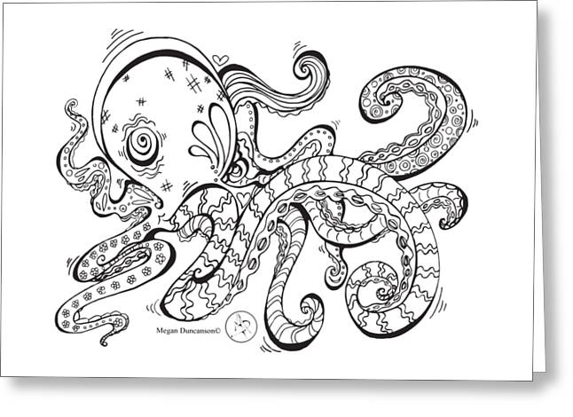 Coloring Page With Beautiful Octopus Drawing By Megan Duncanson Greeting Card