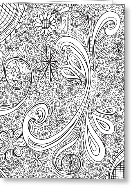 Coloring Page With Beautiful Swirls Drawing By Megan Duncanson Greeting Card